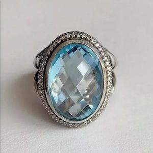 DAVID YURMAN ALBION TOPAZ/ DIAMOND  RING SZE 7